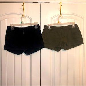 J. Crew black shorts & Express green shorts; 00